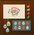 happy easter calligraphy greeting card set hand vector image