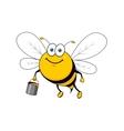 Cartoon smiling bee flying with honey bucket vector image
