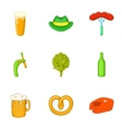 Alcoholic beer festival icons set cartoon style vector image vector image