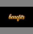 Benefits word text banner postcard logo icon