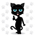black cat with blue eyes standing it made vector image vector image