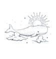 cachalot swims in sky vector image vector image