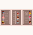 cake set of cards chocolate vector image vector image