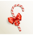 candy cane with red bow vector image