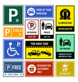 car park parking signs signboards a set of vector image vector image