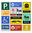 car park parking signs signboards a set vector image