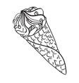cartoon image of ice cream cone vector image vector image