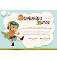 Certificate template with boy being superhero vector image vector image