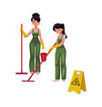 cleaning service girls charwomen in overalls vector image vector image