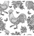 cock flower pattern outline vector image vector image