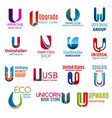 corporate identity letter u business icons vector image vector image