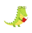 Crocodile Smiling Bookworm Zoo Character Wearing vector image vector image