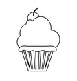 cupcake garnished with cherry icon image vector image vector image