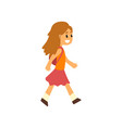 cute happy girl walking with backpack vector image
