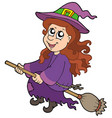 cute witch flying on broom vector image
