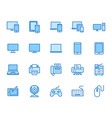 devices flat line icons set pc laptop computer vector image vector image