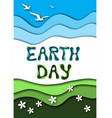 earth day greeting card template with text sky vector image