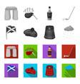 flag kilt rainy weather capscotland country vector image vector image