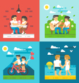 Flat design dating couple set vector image