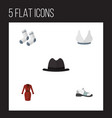 flat icon dress set of foot textile brasserie vector image vector image