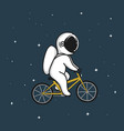 funny astronaut rides on bicycle vector image vector image