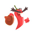 funny cartoon red pepper character with sombrero vector image vector image