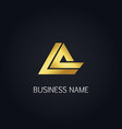gold triangle line business logo vector image