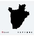 High detailed map of Burundi with navigation pins vector image vector image