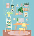 home office concept with plants worker space vector image vector image