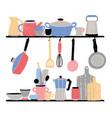 kitchenware on shelf hand drawn vector image vector image