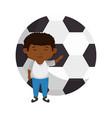 little black boy with soccer balloon vector image