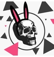 macabre skull with a hoop with pink ears vector image vector image