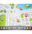 map with pointer set vector image vector image