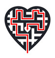 maze in heart shape with red path leading to vector image vector image