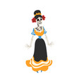 mexican woman skeleton in a dress day dead vector image