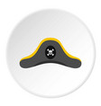 pirate hat icon circle vector image vector image