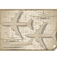 Plane Project in Five Orthogonal Views vector image vector image