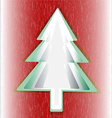 Red background green Christmas tree vector image