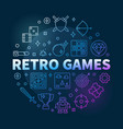 retro games concept round colored thin line vector image vector image