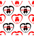 romantic seamless pattern with hearts and kittens vector image