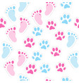 seamless background with baby footprint and vector image vector image