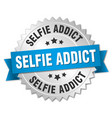 selfie addict round isolated silver badge vector image vector image