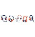 set headphones audio equipment wired vector image