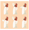 set of muslim cartoon characters vector image