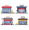set with flat woman fashion store front like vector image vector image