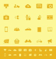 Social network color icons on yellow background vector image vector image