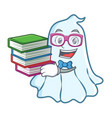Student with book cute ghost character cartoon