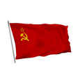 the flag of soviet union ussr on pole in wind vector image
