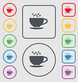 The tea and cup icon sign symbol on the Round and vector image