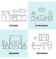 thin line rooms concepts - apartment concept vector image vector image